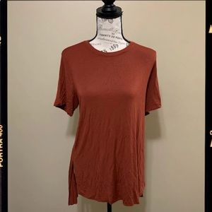 Forever 21 Rust High Low Large Short Sleeve Top